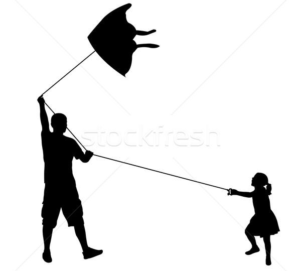 Vader dochter spelen Kite familie man Stockfoto © bokica