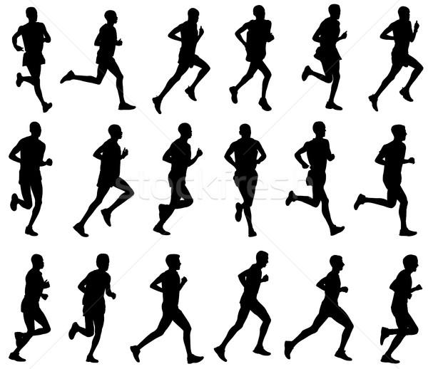 18 marathon coureurs silhouettes design fitness Photo stock © bokica