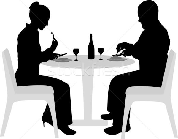 Paar vergadering dining silhouetten vrouw vergadering Stockfoto © bokica