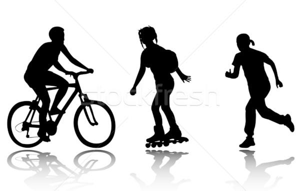 Ontspanning silhouetten fitness silhouet lopen opleiding Stockfoto © bokica