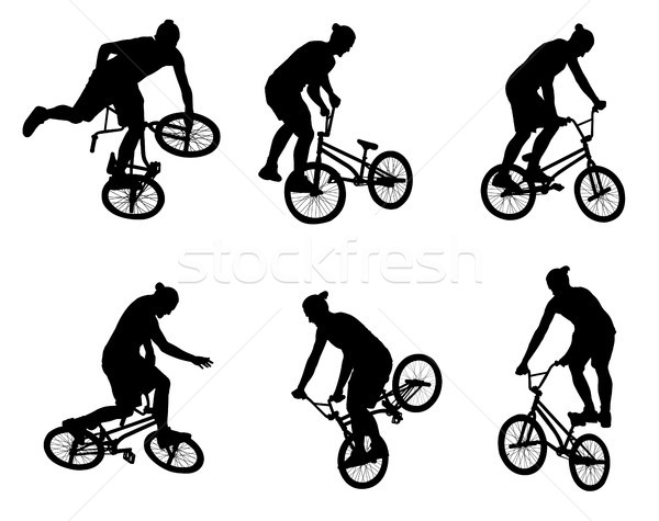 stunt bicyclist silhouettes Stock photo © bokica