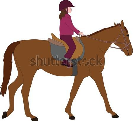 Nő lovaglás ló illusztráció természet modell Stock fotó © bokica