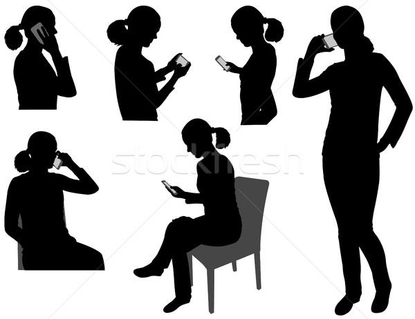 Vrouw mobieltje business werk werken communicatie Stockfoto © bokica