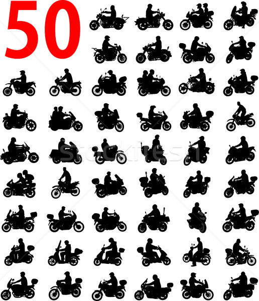 big collection of motorcyclist silhouettes Stock photo © bokica