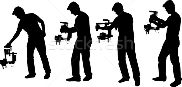 videographer with handheld steadycam silhouettes Stock photo © bokica