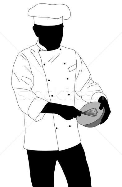 повар силуэта продовольствие стороны кухне Сток-фото © bokica