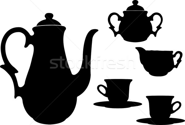 tea or coffee set silhouettes Stock photo © bokica