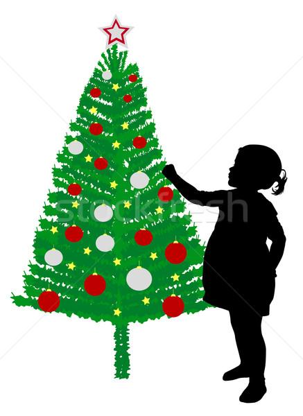 Kisgyerek lány dekoráció karácsonyfa fa boldog Stock fotó © bokica