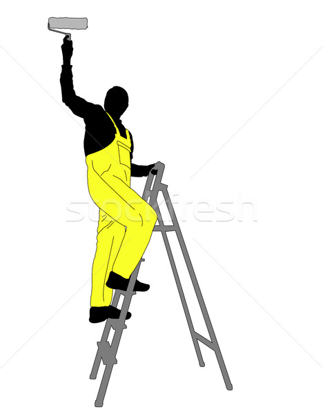 man painting a ceiling silhouette Stock photo © bokica