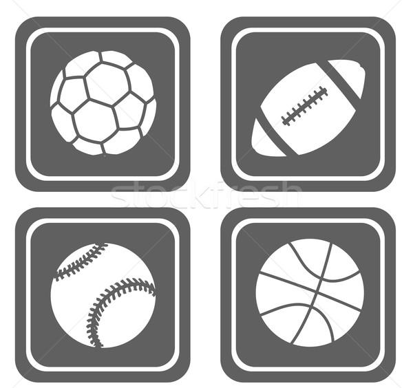 Szett négy egyszerű sport ikon szett ikonok Stock fotó © bokica