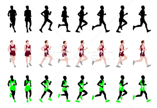 Maraton runner sportu sylwetka uruchomić zwycięzca Zdjęcia stock © bokica