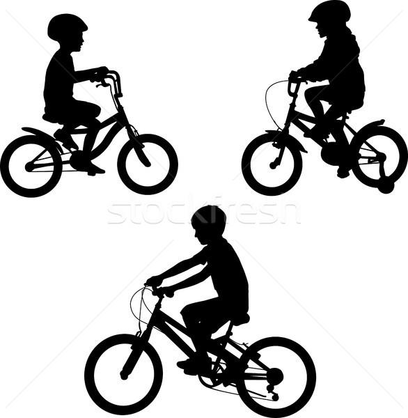 Kinderen paardrijden fietsen silhouetten sport teken Stockfoto © bokica