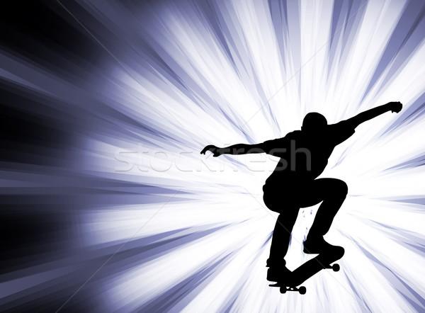 Stockfoto: Skateboarder · abstract · man · straat · achtergrond · ruimte