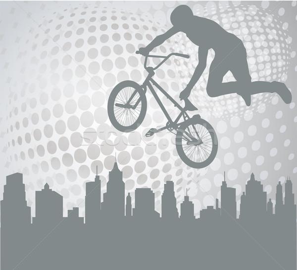 велосипедист силуэта аннотация спорт улице зданий Сток-фото © bokica