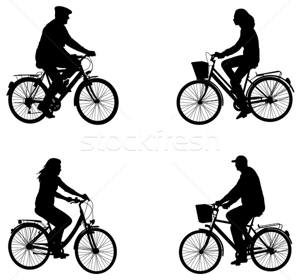 city bicyclists silhouettes Stock photo © bokica