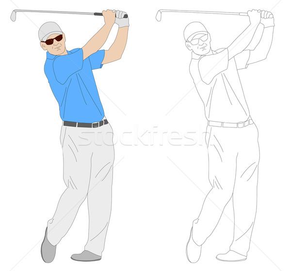 Jogador de golfe ilustração grama golfe corpo relaxar Foto stock © bokica