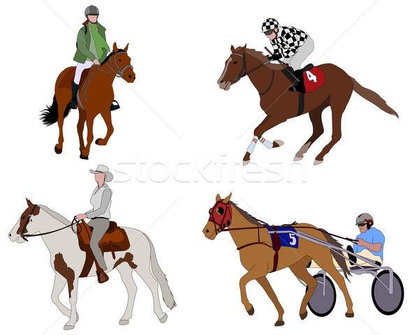 people riding horses illustration - vector Stock photo © bokica