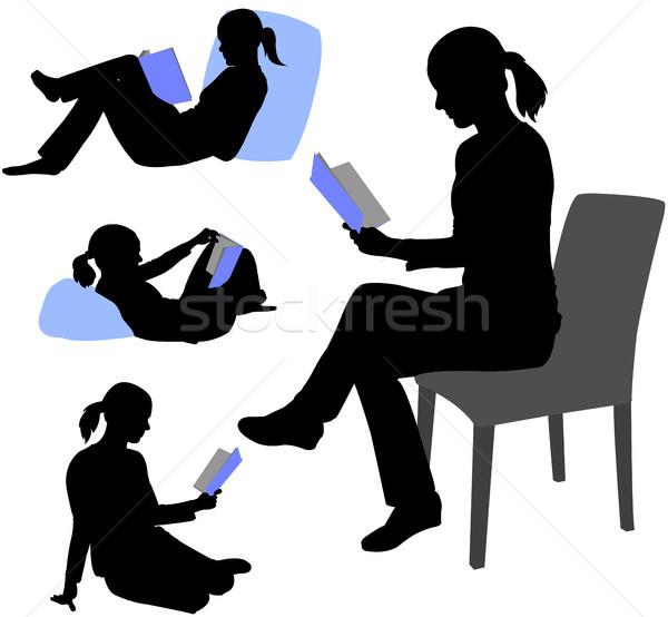 Stockfoto: Vrouw · lezing · boek · silhouetten · student · silhouet