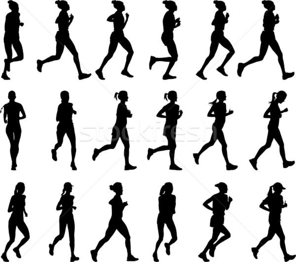 Stockfoto: Vrouwelijke · marathon · lopers · 18 · hoog · kwaliteit