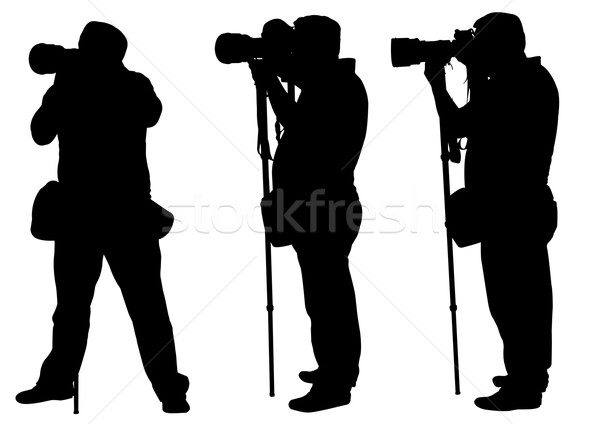photographers with monopod silhouettes Stock photo © bokica