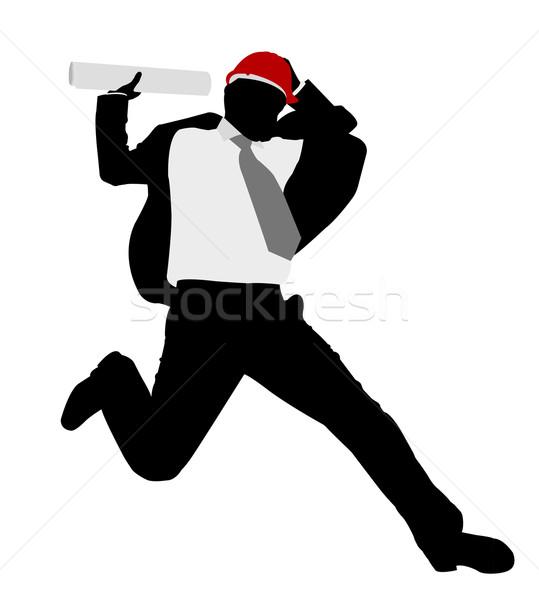 Zakenman veiligheidshelm business man gelukkig bouw Stockfoto © bokica