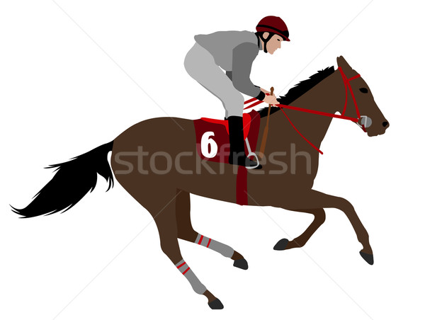 jockey riding race horse illustration 4 Stock photo © bokica