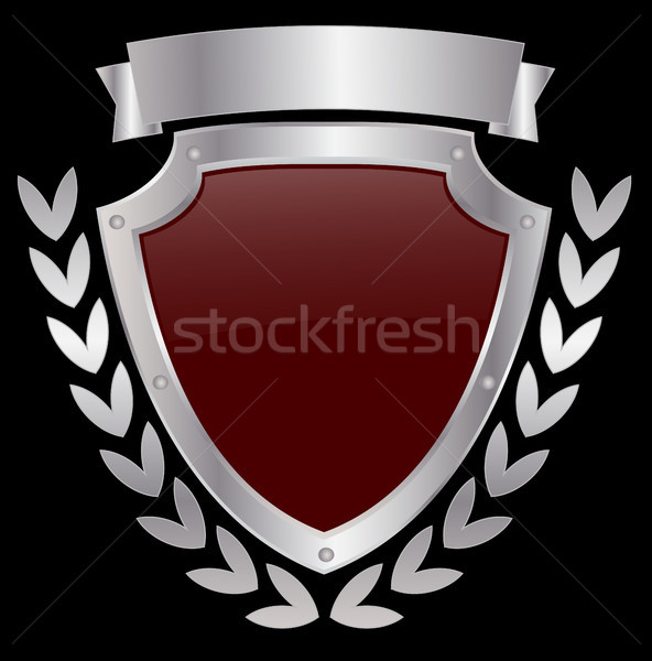 metallic shield with wreath and ribbon Stock photo © bokica