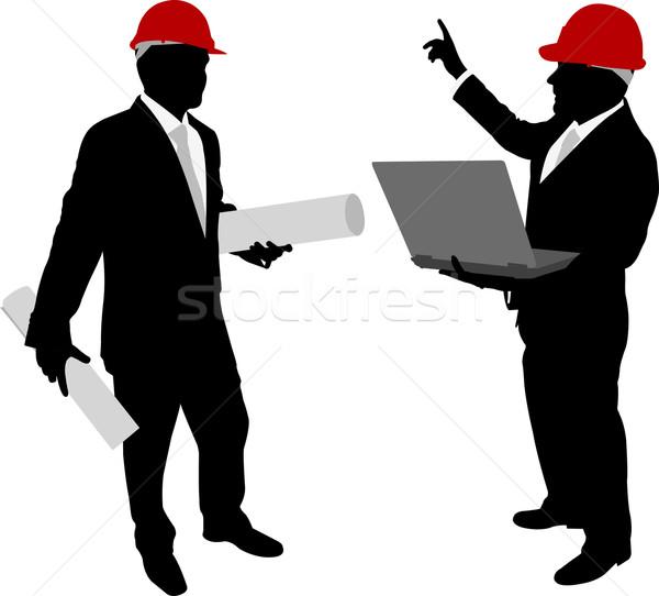 üzletemberek munkavédelmi sisak tart tervek laptop megbeszélés Stock fotó © bokica