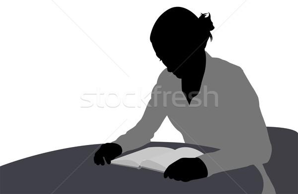 Vrouw lezing boek illustratie student stoel Stockfoto © bokica