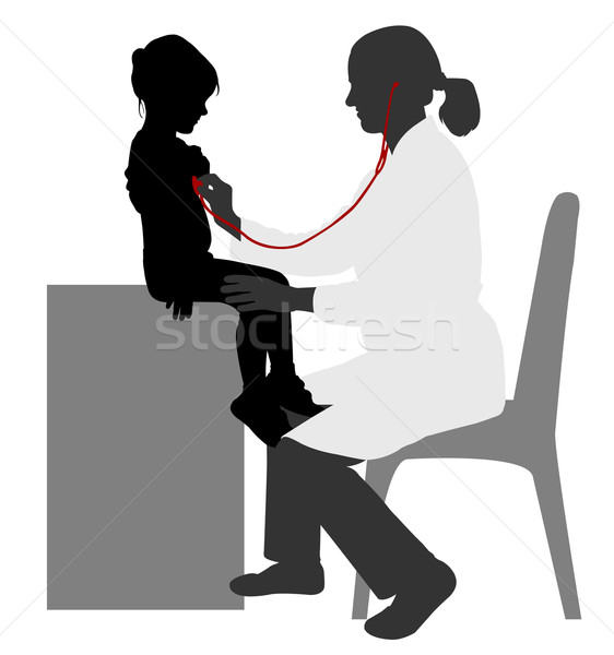 Pediatrician examining of child with stethoscope silhouette Stock photo © bokica