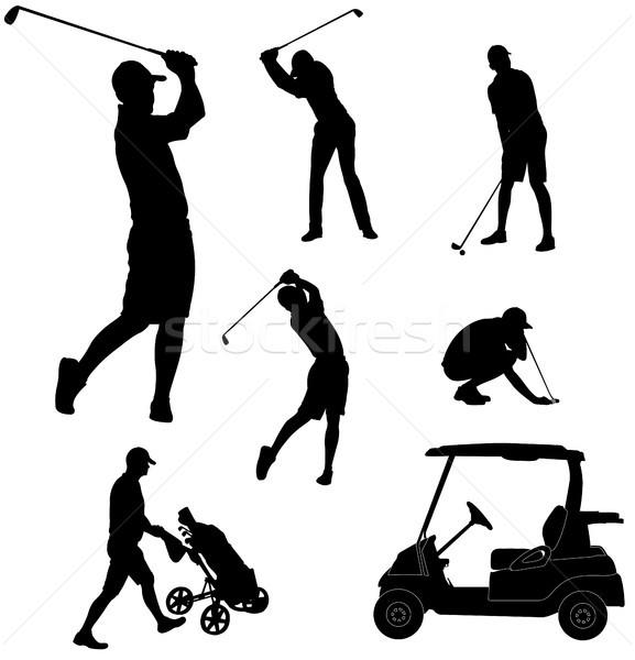 ゴルフ プレーヤー シルエット 草 男 ボディ ストックフォト © bokica