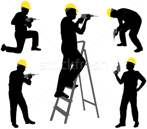 workers with drill silhouettes Stock photo © bokica