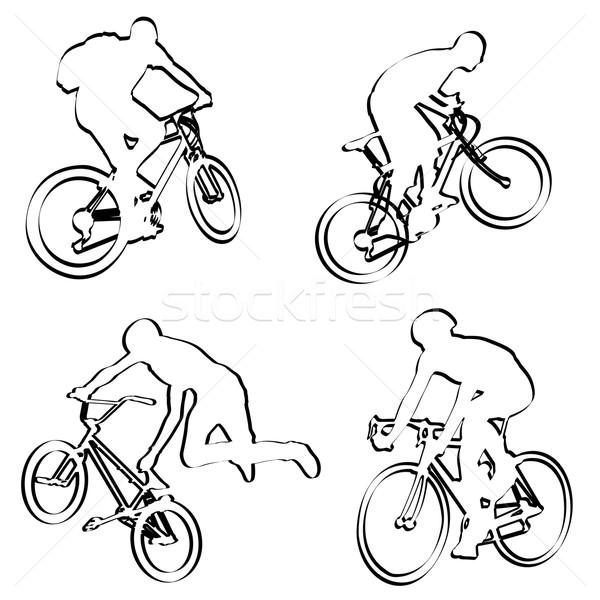 Schets weg fiets silhouet staal race Stockfoto © bokica