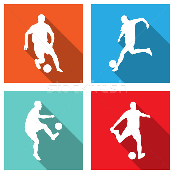 soccer silhouettes on flat icons for web or mobile applications Stock photo © bokica