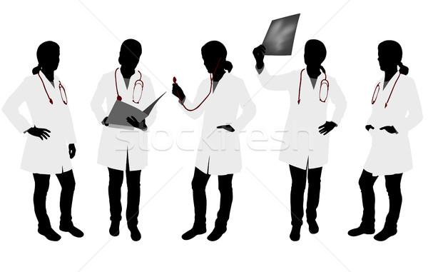 Vrouwelijke arts silhouetten vrouw gezondheid mannen Stockfoto © bokica