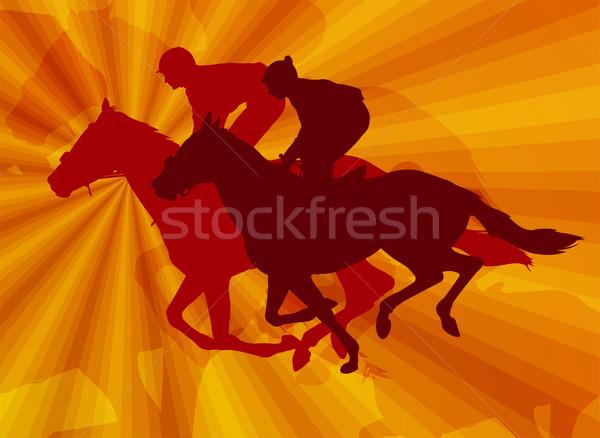 Paardrijden paarden abstract man paard silhouet Stockfoto © bokica