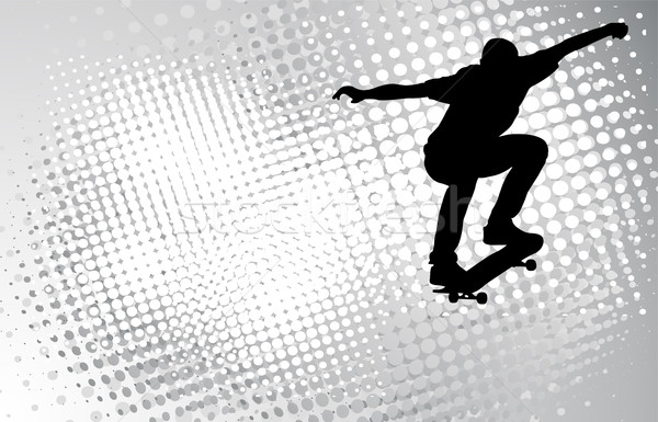 скейтбордист аннотация полутоновой тело фон городского Сток-фото © bokica