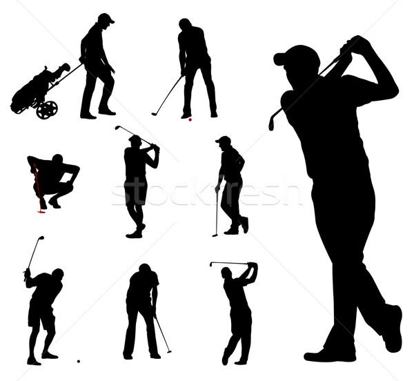 Jogador de golfe silhuetas coleção grama clube alvo Foto stock © bokica