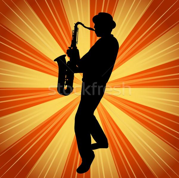 саксофон музыканта силуэта Vintage музыку фон Сток-фото © bokica