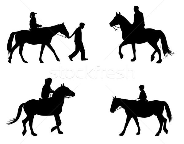riding horses silhouettes Stock photo © bokica