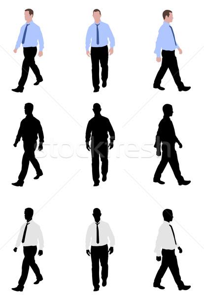 Man lopen silhouetten illustratie business silhouet Stockfoto © bokica