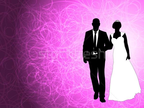 Bruiloft paar abstract paars man mode Stockfoto © bokica