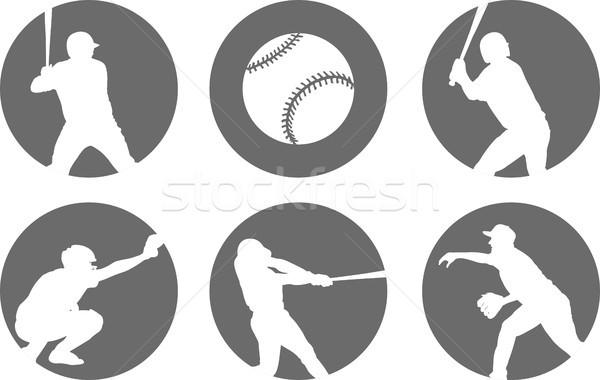 Egyszerű baseball ikon szett sport csapat fut Stock fotó © bokica