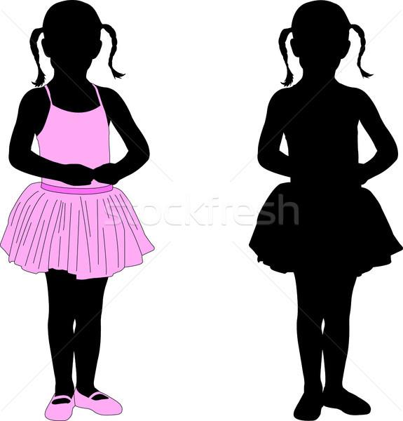 Kicsi ballerina pózol sziluett lány iskola Stock fotó © bokica