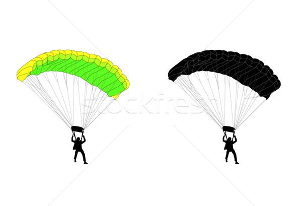Sziluett illusztráció égbolt szabadság személy levegő Stock fotó © bokica