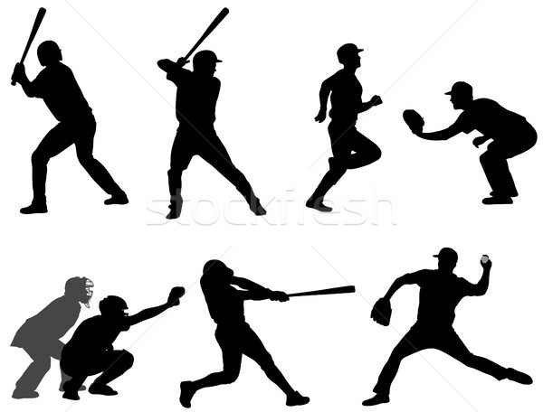 Stockfoto: Baseball · silhouetten · collectie · sport · gezondheid · team