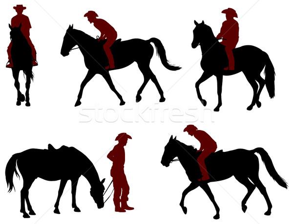 Cowboy верховая езда лошади спорт природы Сток-фото © bokica