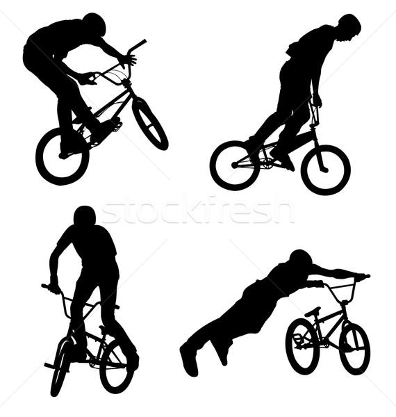 Magas minőség kerékpáros sziluettek bicikli városi Stock fotó © bokica