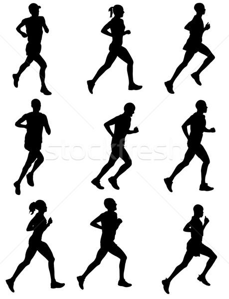 Maraton İkincisi siluetleri spor vücut sağlık Stok fotoğraf © bokica