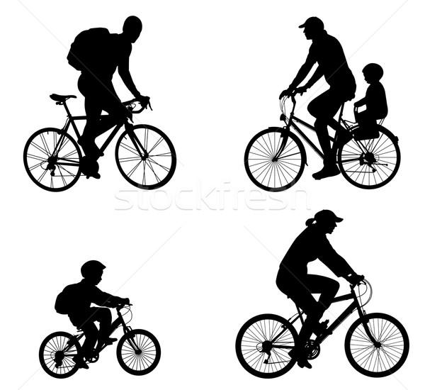 Siluetleri aile imzalamak bisiklet bisiklet Stok fotoğraf © bokica